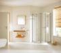 Hüppe Alpha íves tolóajtós zuhanykabin 80*80 QTR fehér/üveg